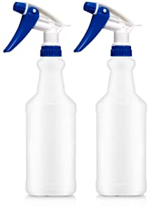 Bar5F Plastic Spray Bottles, Leak Proof, Empty 16 oz. Value Pack of 2 for Chemical and Cleaning Solutions, Adjustable Head Sprayer Fine to Stream (Blue - Commercial Duty)