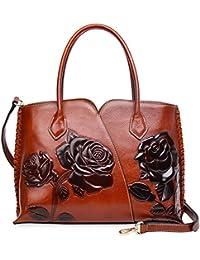 Genuine Leather Top Handle Bags Floral Satchel Handbag Shoulder Purses