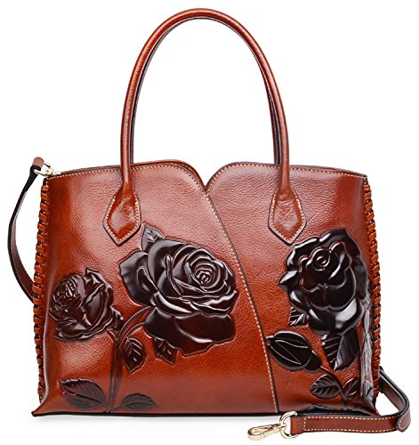 Flower Satchel Handbags (PIJUSHI Genuine Leather Top Handle Bags Floral Satchel Handbag Shoulder Purses 6913(New Brown))