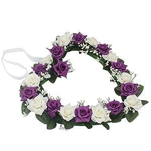 Lanlan Heart Rose Wreath for Wedding Decorations Home Decorations Door Decorations Living Room Hanging Flower White-purple 1PCS 2