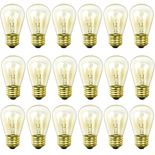 (Newhouse Lighting S14INC18 S14INC6-3 Outdoor Weatherproof S14 Incandescent Replacement String Light Bulbs | Standard Base | 18-Pack, Clear, Piece)