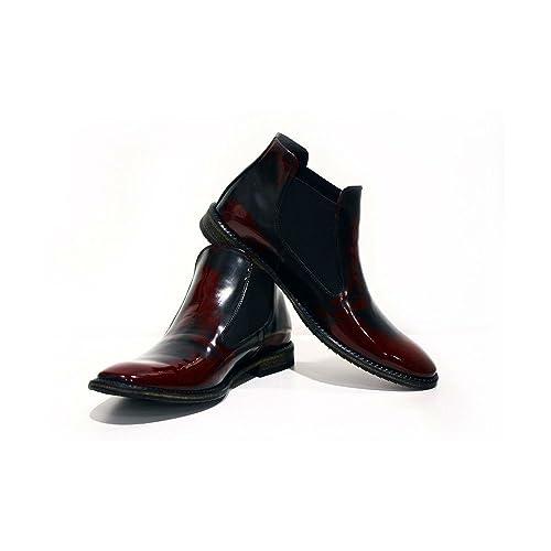 Modello Catania - Cuero Italiano Hecho A Mano Hombre Piel Borgoña Chelsea Botas Botines - Cuero Charol - Ponerse: Amazon.es: Zapatos y complementos