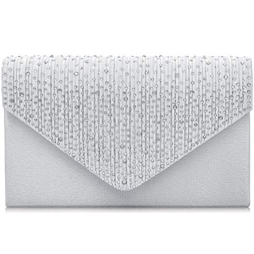- HEKATE Women Evening Bag Envelope Rhinestone Frosted Clutches Party Bridal Clutch Purse (Silver), Small