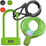 Lumintrail Bike Bicycle Combination Cable Lock and U-Lock Combo, Military Grade Braided Steel & Components, Pick & Drill Resistant Security. Comes with Our (Green)