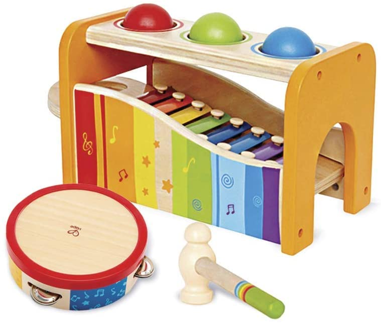 Hape Pound, Tap, & Shake! Music Set - Award Winning Wooden Pounding Bench, Baby Xylophone, and Tap Along Tambourine - Developmental, Non-Toxic, Montessori Musical Toys for Toddlers 1 - 4 Years Old