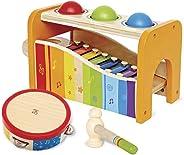 Hape Pound, Tap, & Shake! Music Set - Award Winning Wooden Pounding Bench, Baby Xylophone, and Tap Along Tambourine - Develo