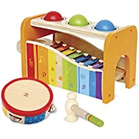Hape Music Toys for Toddlers - Award Winning Wooden Pound & Tap Bench with Slide Out Xylophone and Tap Along Tambourine…