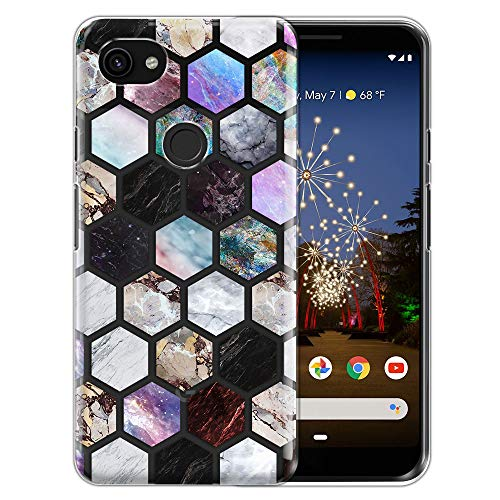 FINCIBO Case Compatible with Google Pixel 3a XL 6 inch, Clear Transparent TPU Silicone Protector Case Cover Soft Gel Skin for Pixel 3a XL (NOT FIT Pixel 3a 5.6 inch) - Mix Marble Tiles