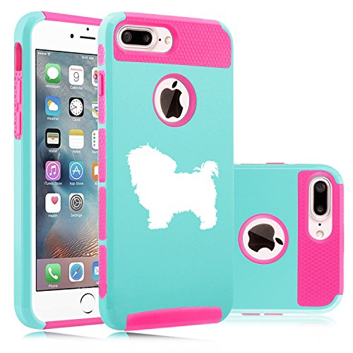 (For Apple iPhone (7 Plus) Shockproof Impact Hard Soft Case Cover Maltese (Light Blue-Hot Pink) )