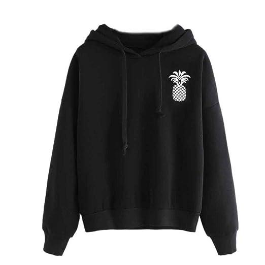 Women Hoodie Sweatshirt Daoroka Ladies Cotton Long Sleeve Pineapple Print Drawstring Solid Autumn Winter Pullover Blouse
