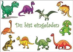Dinosaurier Einladungen: 10 Lustige Dinosaurier Einladungskarten Zum  Kindergeburtstag Oder Ins Museum / Geburtstagseinladungen Für