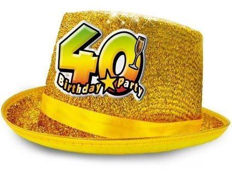 CAPPELLO cilindro 40 Anni glitter - Buon Compleanno - colori assortiti -  invio del colore casuale 6f945e9ead49