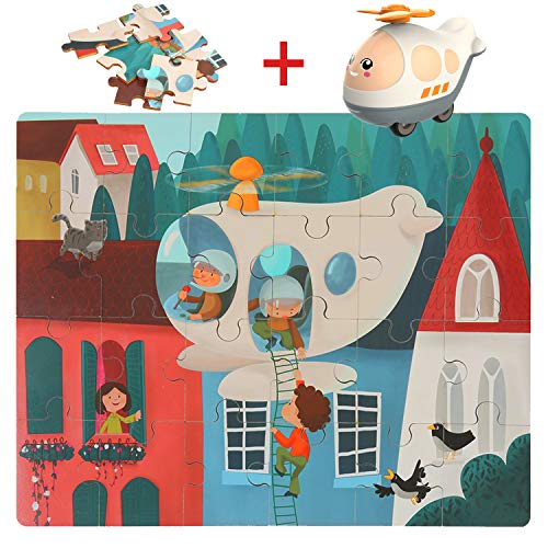 TOP BRIGHT Wooden Floor Puzzles for Toddler 24 Pieces Puzzles with Cars,Educational Toys for Toddlers