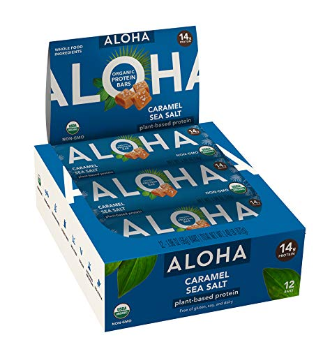 🥇 ALOHA Organic Plant Based Protein Bars |Caramel Sea Salt | 12 Count