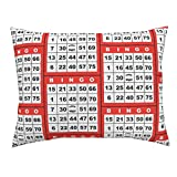 Roostery Bingo Standard Knife Edge Pillow Sham Bingo Red 1On by Dd BAZ Natural Cotton Sateen Made