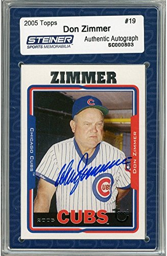 Don Zimmer Autographed 2005 Topps Card - Cubs - Portrait in dugout Slabbed by Steiner - Authentic (Portraits Autographed Card)