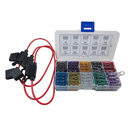 DIGITEN Auto Standard Blade Type ATC Fuse Assorted + Inline 16 AWG Gauge Holder kit for Car Boat - Blade Holder Fuse Type