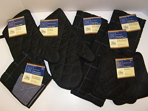 9 Piece Solid Black Colored Bundle of Kitchen Linens by Home Collection, 3 Microfiber Kitchen Towels, 2 Cotton Pot Holders, 2 Cotton Oven Mitts, & 2 Microfiber Dishcloth Scrubbers