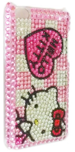 [WG] HELLO KITTY Apple iPod Touch 4th Generation 4G iTouch 4 Full Diamond Rhinestones Bling Jeweled BACK PIECE Protector Case (Checkers) + FREE WirelessGeeks247 Detachable Neck Strap / Lanyard