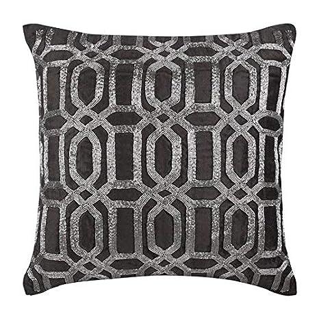 Surprising Charcoal Grey Throw Pillow Covers Metallic Silver Lattice Trellis Turkish Pattern 14X14 Throw Pillow Covers Velvet Throw Pillows Cover Geometric Machost Co Dining Chair Design Ideas Machostcouk