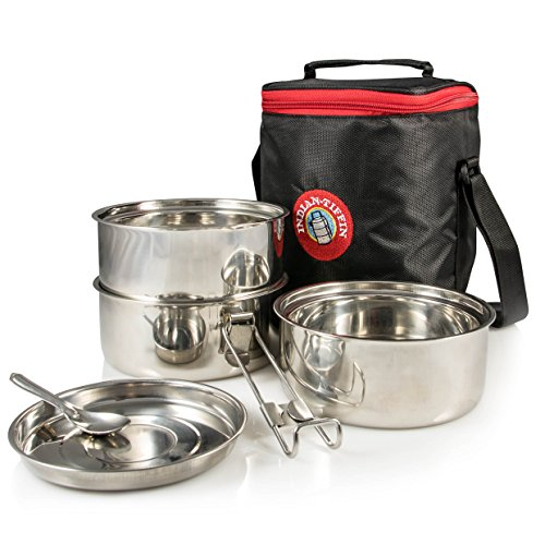 Indian Tiffin 3 Tier Insulated Box with Thermo Insulated Bag, Medium, Black
