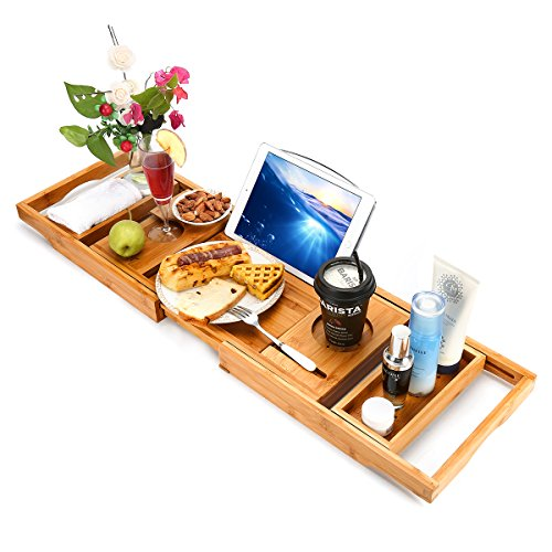 Wooden-Life Bathtub Caddy Tray& Laptop Desk with Foldable Legs, 2 in 1 Wisdom Design – Luxurious Bathtub Caddy with Extending Sides, Tablet Holder, Reading Rack,Cellphone Tray and Wine Glass Holder by Wooden-Life (Image #5)