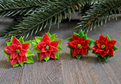Christmas gift idea for best friend Sister Xmas present Poinsettia star stud earrings Holiday jewelry winter flower New year cute floral handmade unique rustic daughter in law small tiny pin posts