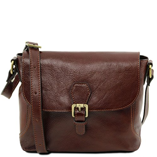 Tuscany Leather Jody Leather shoulder bag with flap Honey Brown