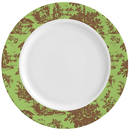 Green & Brown Toile Ceramic Dinner Plates (Set of 4) (Personalized) (Brown Toile Plates)
