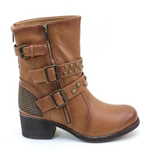New Brieten Women's Studded Buckle Zipper Low Heel Ankle Riding Boots