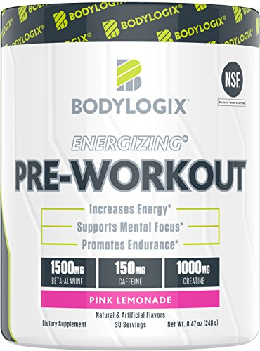 Bodylogix Energizing Pre-Workout Powder, NSF Certified, Pink Lemonade, 30 Servings