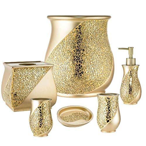 Gold Cracked Ice Sets (6 Piece Resin Bath Accessory Set, Cracked Glass, Champagne Gold)