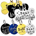 YiXiEr Personalized Cat Tags, Dog Tags Front and Back Engraved, Stainless Steel Pet ID Tags Various Designs and Colors - Bone, Round