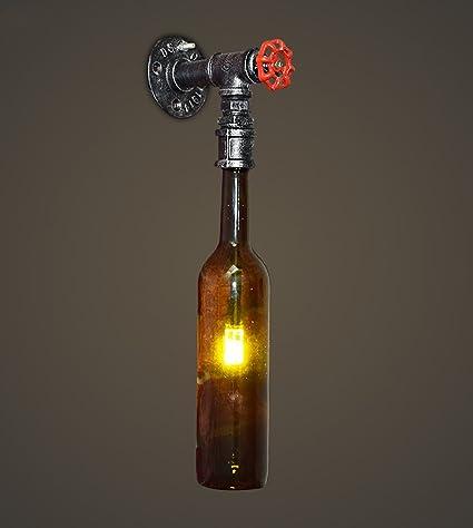 Lámparas de Pared de Vintage Loft Lámpara de Pared Vidrio Cerveza Botella de Vino Tinto Lámpara