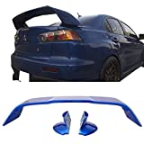 Pre-painted Trunk Spoiler Compatible With 2008-2017 Mitsubishi Lancer 2008-2015 Evolution EVO X 10 | Painted Octane Blue Pearl # D06 ABS Car Exterior Rear Spoiler by IKON MOTORSPORTS
