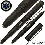 Takedown® First Response Team E.M.S crafted Aircraft Aluminum alloy Flat Tip Heavy Duty Pocket Clip Replaceable Ink Cartridges Window Breaker BLACK Tactical Pen EMS Emblem