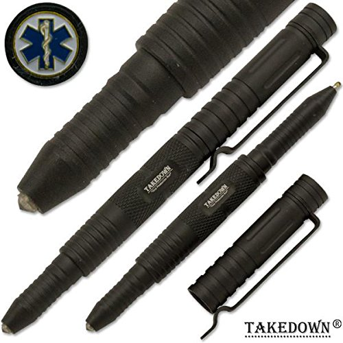 Takedown E.M.S First Response Team Crafted Aircraft Aluminum Alloy Flat Tip Heavy Duty Pocket Clip Replaceable Ink Cartridges Window Breaker Grey Tactical Pen EMS Emblem