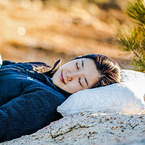 Camping and Travel Pillow with Bamboo Derived Viscose Rayon Cover – Adjustable Compressible – Includes Stuff Sack Great for Backpacking, Airplane or car Travel – 19″ x 14″ – Memory Foam Travel Pillow
