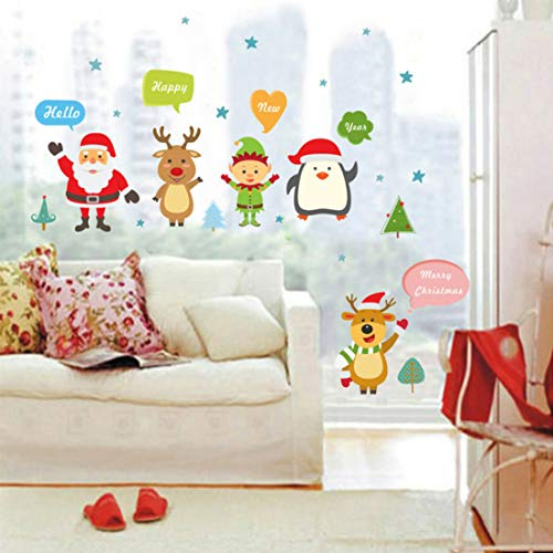 (Christmas Stickers Wall Baby - Winter Wonderland Xmas Party Supplies - Santa Claus Elf Reindeer Greeting Decals - Holiday Wall Sticker- Happy New Year - Merry Christmas)