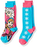 Disney Girls' Frozen 2 Pack Knee, Pink/Blue Assorted, Fits Sock Size 5-6.5 Fits Shoe Size 4-7.5