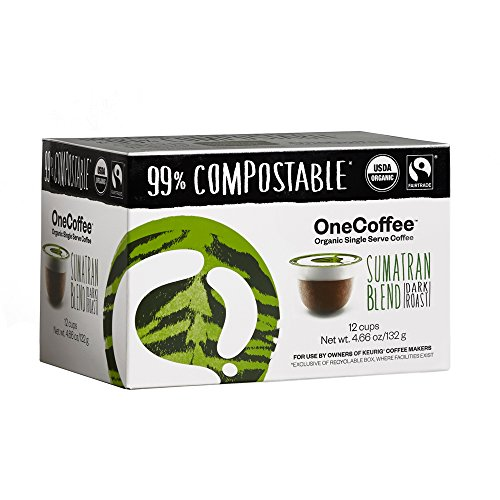 OneCoffee Organic Single Serve Coffee for Keurig Coffee Makers- 1 Box of 12 Cups (Sumatran Blend(Dark Roast))