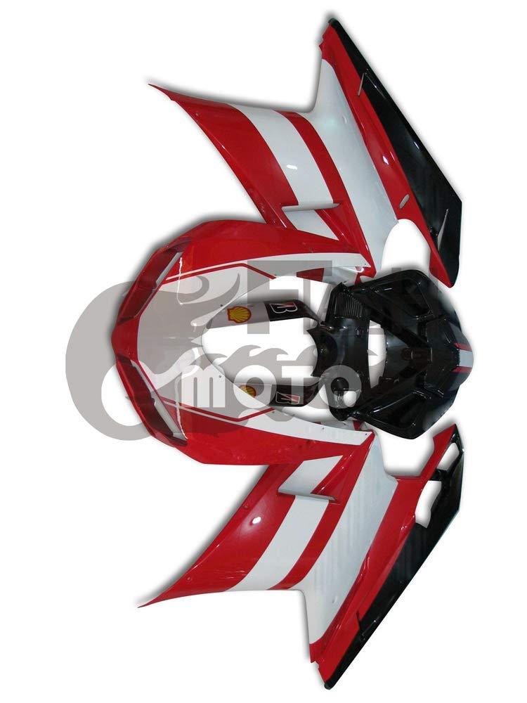 FlashMoto ducati デュカティ 1098 848 2007 2008 2009 2010 2011 2012 1198用フェアリング 塗装済 オートバイ用射出成型ABS樹脂ボディワークのフェアリングキットセット ホワイト, レッド   B07L8B275D