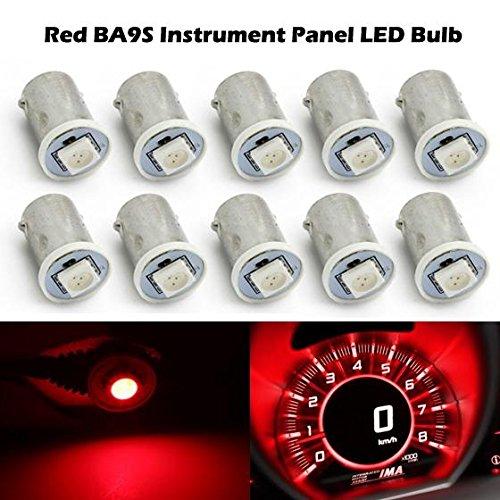 Partsam 10x Car LED BA9S 57 1895 Red 1-5050-SMD Instrument Cluster Dashboard Lamp Bulb