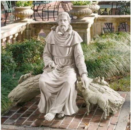 St Francis with Animals Resting in the Garden Sculpture -