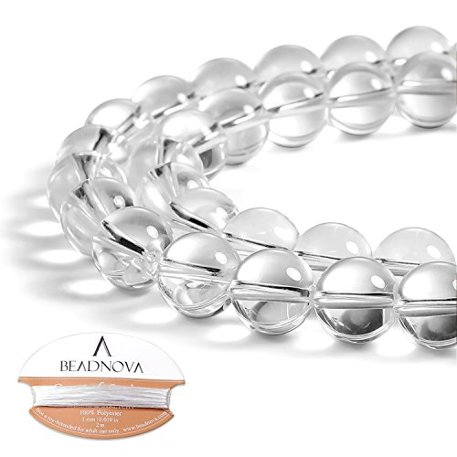 BEADNOVA Clear White Crystal Rock Quartz Beads Natural Crystal Beads Stone Gemstone Round Loose Energy Healing Beads with Free Crystal Stretch Cord for Jewelry Making (10mm, 38-40pcs)