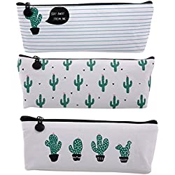 Bonaweite Cactus Pastoral Bandage Canvas Pencil Case Box Makeup Bag Set of 3