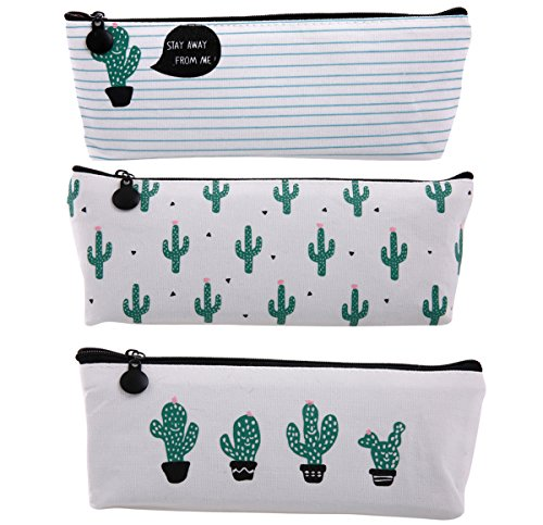 Bonaweite 3x Cactus Canvas Pencil Case Pencil Pouch Makeup Bag 3pc Deal (Large Image)