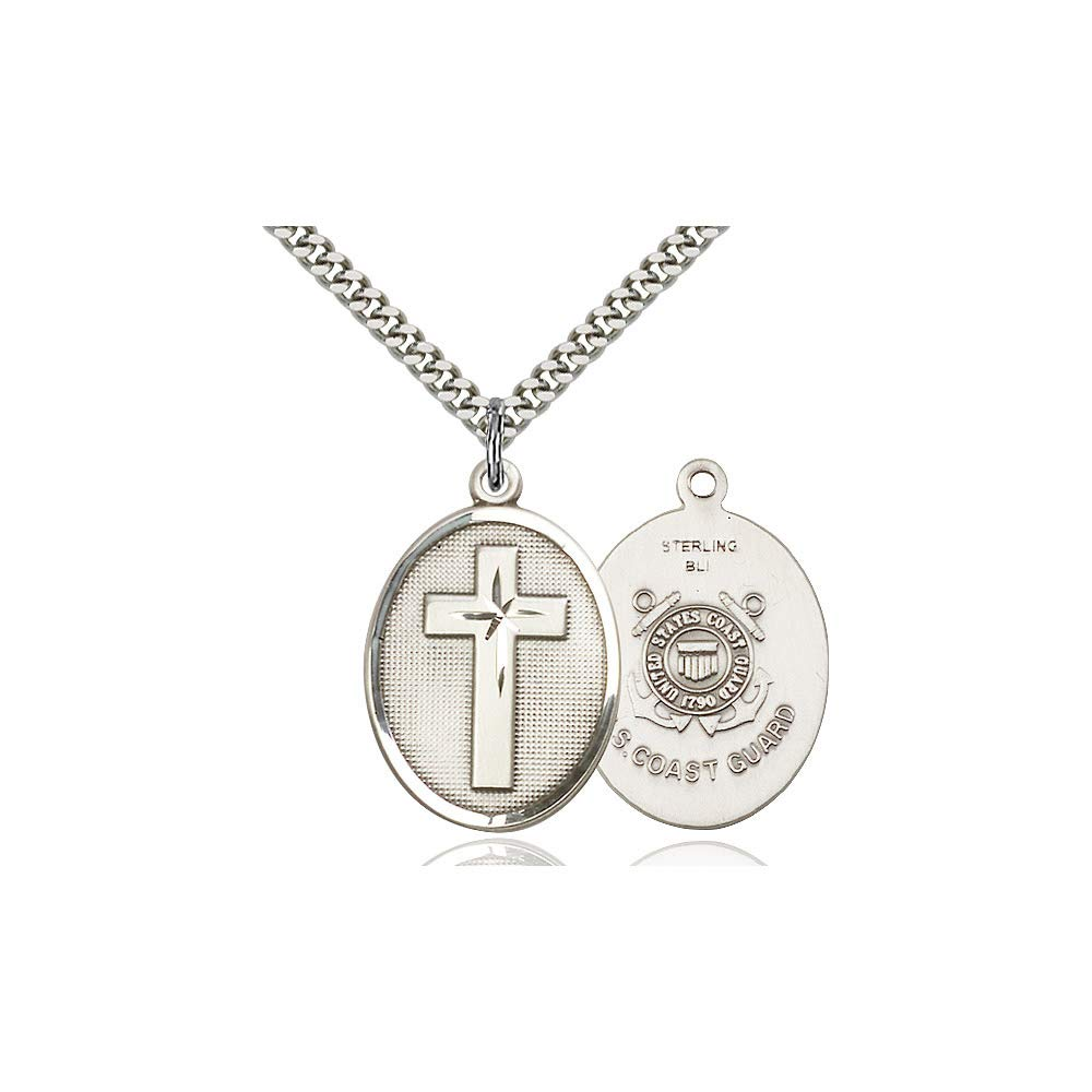 DiamondJewelryNY Sterling Silver Cross//Coast Guard Pendant
