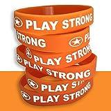 Play Strong Motivational Wristband Bracelets (Orange, 6-Pack, Classic 1/2 x 7 Youth Size) Durable Silicone Bracelets, Team Coach Athlete Motivation #AllProfitsToHelpKids