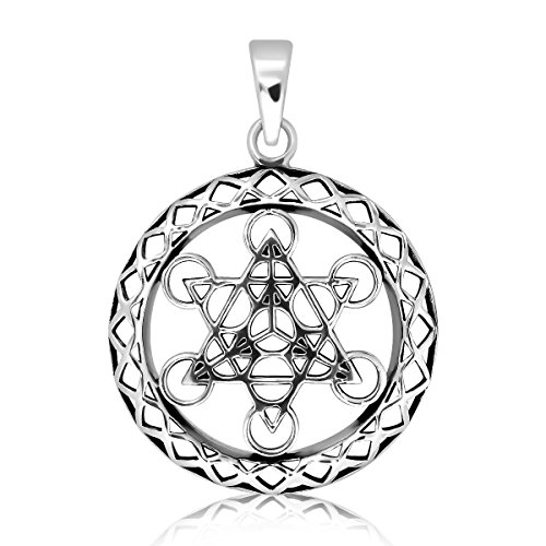WithLoveSilver Sterling Silver Metatron's Cube Sacred Geometry Talisman Pendant ()